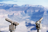 Two observation scopes on the canyon rim, Grand Canyon National Park, Arizona. - AURF00931