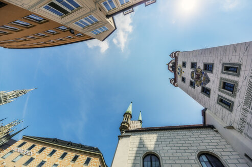 Germany, Bavaria, Munich, City Center, worm's eye view of buildings - THA02237