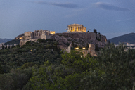 Greece, Athens, View of the Acropolis from Pnyx at blue hour - MAMF00211