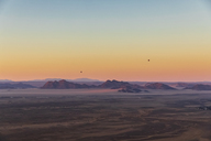 Africa, Namibia, Namib desert, Namib-Naukluft National Park, Aerial view of desert dunes in the morning light, air ballons - FOF10114