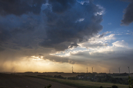 Germany, Lausitz, wind wheels and  thundercloud - HAMF00366