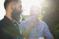 Male gay couple drinking wine and talking - CAIF21382