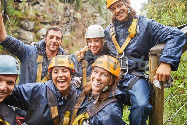 Portrait smiling, confident friends zip lining - CAIF21400 - Trevor Adeline/Westend61