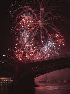 Germany, Wiesbaden, Theodor Heuss Bridge, fireworks at Rhine river - BSCF00567