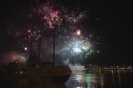 Germany, Wiesbaden, Theodor Heuss Bridge, fireworks at Rhine river - BSCF00573