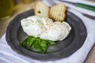 Mozzarella braid, basil and bread on plate - GIOF04240