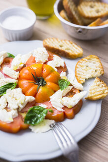 Italian food, caprese, mozzarella and tomatoes and basil - GIOF04255