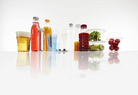 Various plastic packagings, beer, juice, cups - KSWF01972