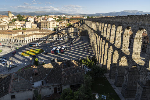 Spain, Castile and Leon, Segovia, Aqueduct and shadow - JSMF00429
