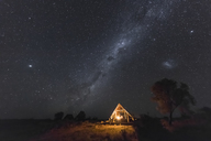 Botswana, Kgalagadi Transfrontier Park, Kalahari, Two Rivers Camp at night, milky way - FOF10191