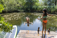 Girl watching her friend jumping into pond - TCF05731