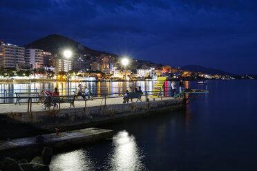 Albania, Vlore County, Saranda, beach promenade in the evening - SIE07952
