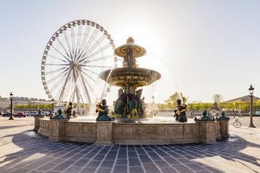 France, Paris, Place de la Concorde, fountain and Roue de Paris, big wheel - WDF04809