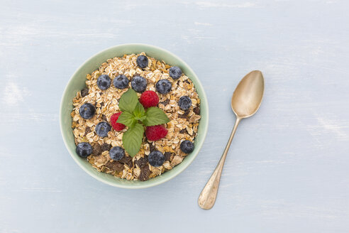 Bowl of muesli with raspberries and blueberries - JUNF01089