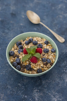 Bowl of muesli with raspberries and blueberries - JUNF01092