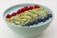 Smoothie bowl with blueberries, raspberries, kiwi and chopped hazelnuts - JUNF01101