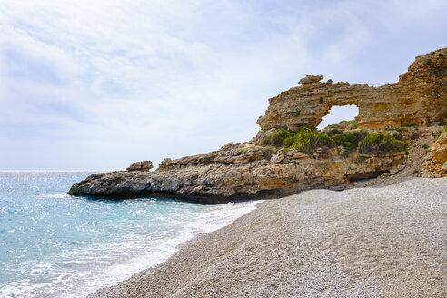 Albania, Ionean sea, Albanian Riviera, rock arch on the beach of Dhermi - SIEF07968