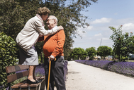 Senior couple having fun in the park, woman standing on bench kissing senior man on forehead - UUF14945
