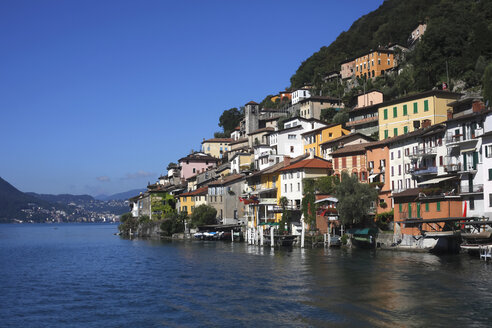 Switzerland, Lugano, Gandria, view to houses at Lake Lugano - JTF01046