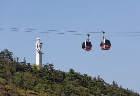 Georgia, Tbilisi, Cable car with Kartlis Deda monument - WW04274