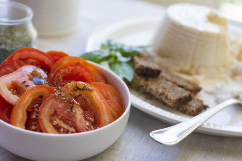Bowl of sliced tomatoes flavoured with oregano - RAMAF00014
