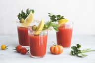Glasses of fresh spicy tomato juice with cellery garnished with lemon slice, green olive and parsley - IPF00477
