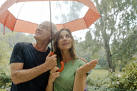 Smiling mature couple standing in rain under umbrella - KNSF04660