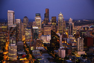 The American port city of downtown Seattle, Washington at dusk. - AURF02575
