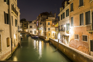 Italy, Venice, Canal and houses at night - JUNF01204
