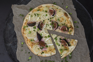 Homemade Tarte Flambee with figs, spring onions and goat cheese - JUNF01228