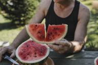 Senior man's hand holding watermelon slice - KMKF00480
