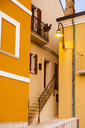 Italy, Molise, Termoli, Old town, house, orange facade, narrow - FLMF00014