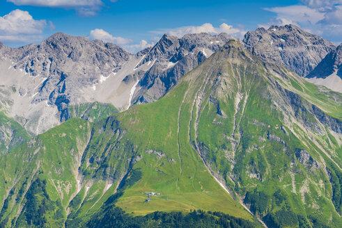 Germany, Bavaria, Allgaeu, Allgaeu Alps, panoramic view of Allgaeu main ridge from Krumbacher Hoehenweg - WGF01240