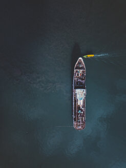 Indonesia, Bali, Aerial view of tourboat - KNTF01257