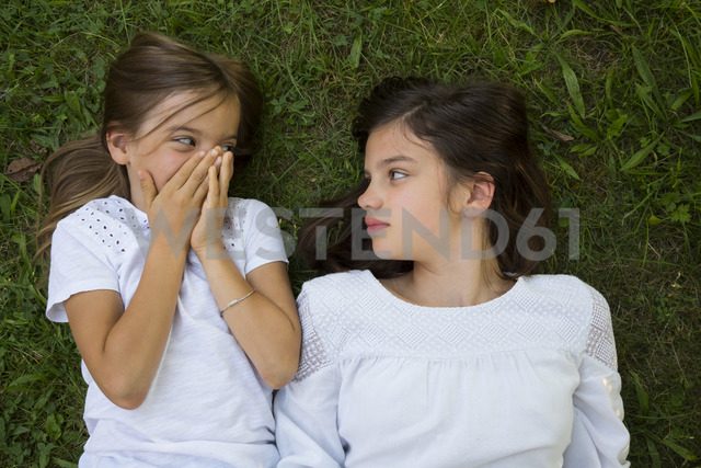 Two sisters lying together on a meadow - LVF07438