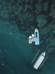 Indonesia, Bali, Aerial view of motorboats from above - KNTF01283