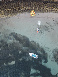 Indonesia, Bali, Aerial view of Nusa Dua beach, jet skiing - KNTF01289