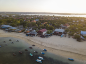 Indonesia, Bali, Aerial view of Benoa beach at sunset - KNTF01319