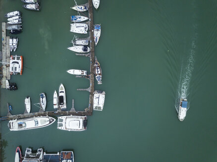 Indonesia, Bali, Aerial view of mooring area and boats - KNTF01325