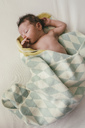 Newborn baby boy wrapped in blanket - MFF04591