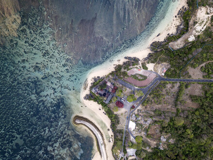 Indonesia, Bali, Aerial view of Nusa Dua beach, Temple from above - KNTF01361