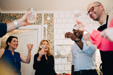 Happy mature friends toasting drinks in party at home - MASF09083