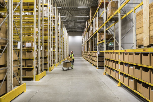Mid distance view of senior male worker pushing cart on aisle in warehouse - MASF09161