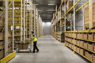 Full length side view of young warehouse worker pushing cart on aisle in industrial building - MASF09167