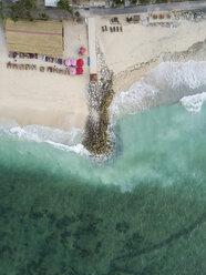Indonesia, Bali, Aerial view of Pandawa beach, jetty - KNTF01427