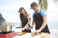 Young couple wearing aprons preparing food on beach - LUXF00102