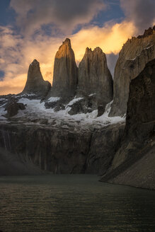 Scenery with mountains at sunset, Torres del Paine National Park, Patagonia, Chile - AURF04840