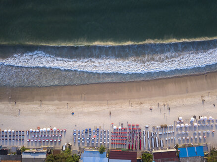 Indonesia, Bali, Aerial view of Jimbaran beach, Restaurants at the beach, from above - KNTF01455