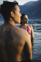 Young couple in a lake at sunset - MRAF00306