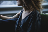 Close-up of young woman in a car - MRAF00321